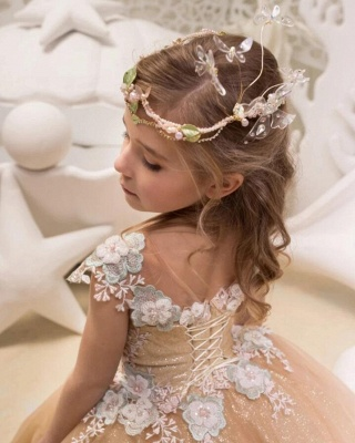 Lovely Long Champagne Cap Sleeves Flower Girl Dresses WIth Lace Up| Jewel Tulle Kids Dresses For Wedding_2