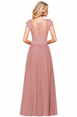 Burgundy Cap sleeves Lace Evening Gowns with Appliques | Cheap Chiffon Long Mother of the bride dress_18