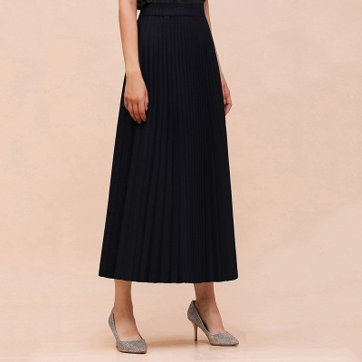 Alice New Fashion Damen Casual Frühling Autunm Stretch Hanf Plissee A-Linie Tee Länge Rock_19