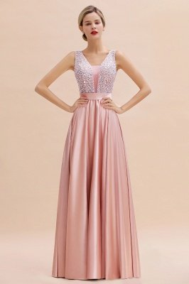 Arik | Simple Pearl pink Sequined Belt Pleats Long Prom Dress_11