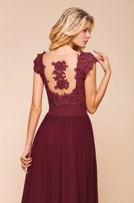 Burgundy Cap sleeves Lace Evening Gowns with Appliques | Chiffon Long Mother of the bride dress_14