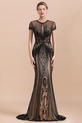 Robe de bal sirène noire de luxe recouverte de perles_2