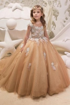 Lovely Long Champagne Cap Sleeves Flower Girl Dresses WIth Lace Up| Jewel Tulle Kids Dresses For Wedding