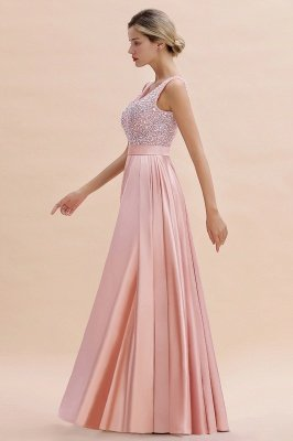 Arik | Simple Pearl pink Sequined Belt Pleats Long Prom Dress_12
