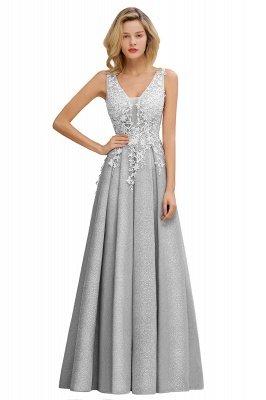 Rebacca | A-Line V-neck Floor-Length Tulle Sequined Prom Dresses_6