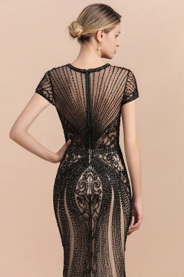 Robe de bal sirène noire de luxe recouverte de perles_8