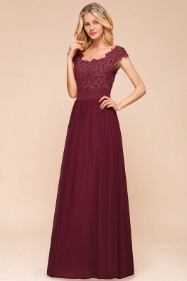 Burgundy Cap sleeves Lace Evening Gowns with Appliques | Chiffon Long Mother of the bride dress_7