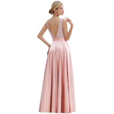 Arik | Simple Pearl pink Sequined Belt Pleats Long Prom Dress_16