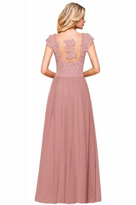 Burgundy Cap sleeves Lace Evening Gowns with Appliques | Chiffon Long Mother of the bride dress_18