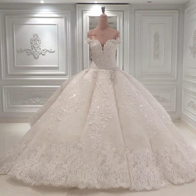 Luxurious Shinning Crystal Sweetheart Off The shoulder Long Wedding Dresses| Cheap Sleeveless Bridal Gown With Long Train_1