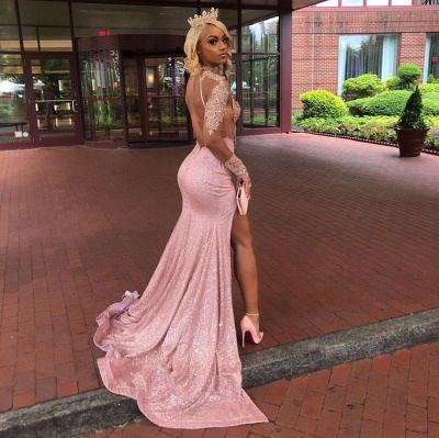 Sexy Dusty Pink Long Sleeves Lace Appliques 2020 High Split Sequined Long Prom Dress_4