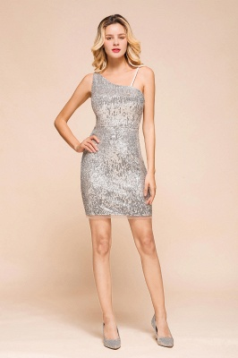 Shining Silver Sequined One shoulder price Short Cocktail Dress in Mini length_1