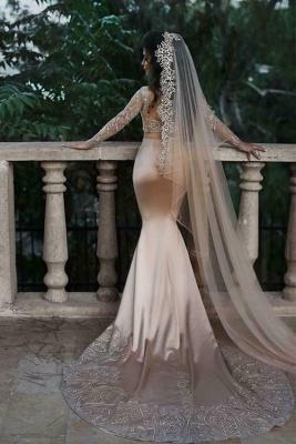 Luxuriöse zweiteilige Meerjungfrau Champagner Brautkleider Mit Spitze Appiques Und Perlen | Günstige Long Sleeves Brautkleider zum Verkauf_2