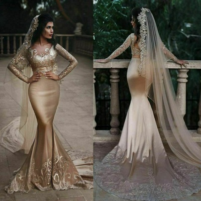 Luxuriöse zweiteilige Meerjungfrau Champagner Brautkleider Mit Spitze Appiques Und Perlen | Günstige Long Sleeves Brautkleider zum Verkauf_3