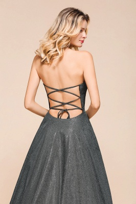 April | Strapless A-line High Slit Gray Shiny Sequined Prom Dress_9