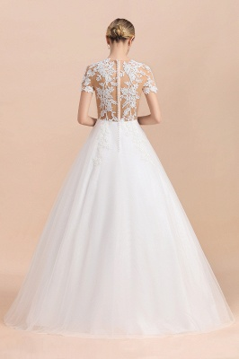 Elegant White Short Sleeves Ball Gown Buttons Lace Applique Wedding Dress_3