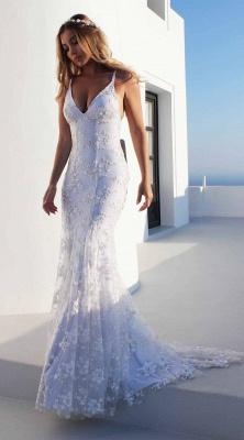 Облегающие платья длиной до пола, кружева V-образным вырезом спагетти с открытой спиной Платья для выпускного   Дешевые платья с кружевом_4