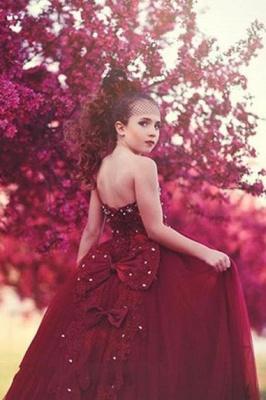 Hada Tulle Apliques de encaje Espagueti Escote corazón Vestidos de niña de las flores con nudos de lazo | Vestidos de desfile de niñas con espalda abierta hasta el suelo baratos_3