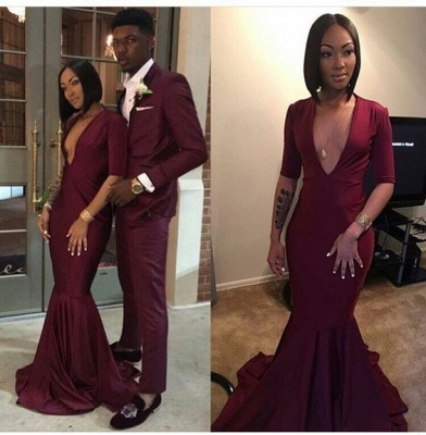 Sexy V-neck Burgundy Long Mermaid Prom Dresses with Sleeves_2
