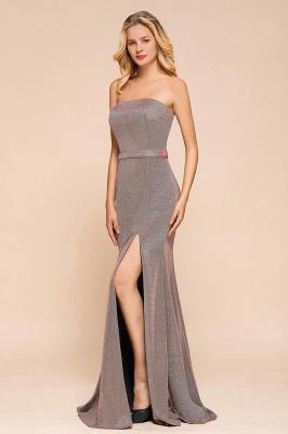 Elegant Strapless Belt Stormy Zipper up High Split Prom Dress_6