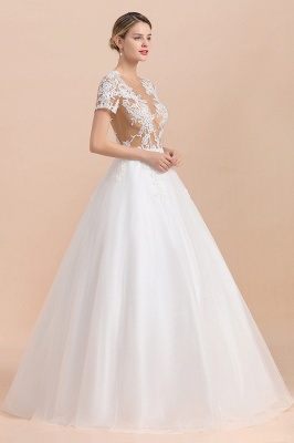 Elegant White Short Sleeves Ball Gown Buttons Lace Applique Wedding Dress_6