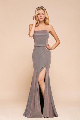 Elegant Strapless Belt Stormy Zipper up High Split Prom Dress_5