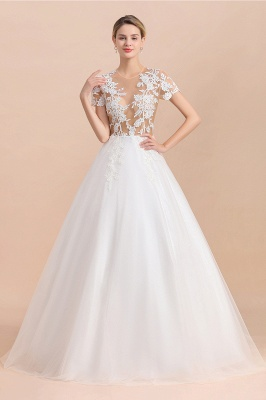 Elegant White Short Sleeves Ball Gown Buttons Lace Applique Wedding Dress_5