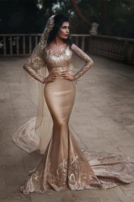 Luxuriöse zweiteilige Meerjungfrau Champagner Brautkleider Mit Spitze Appiques Und Perlen | Günstige Long Sleeves Brautkleider zum Verkauf_1