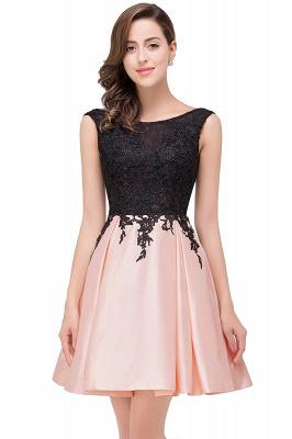 EVA | Apliques de encaje sin mangas una línea vestidos de baile cortos_3