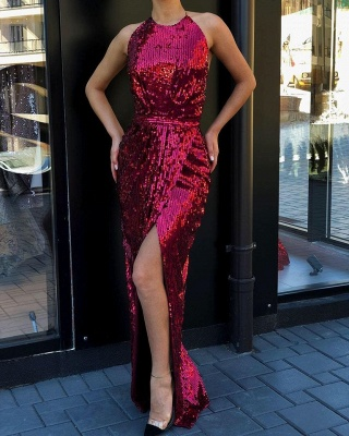 High round neck Sparkly Sequined High Slit Burgundy Cheap Prom Dress_2