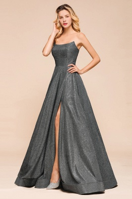 April | Strapless A-line High Slit Gray Shiny Sequined Prom Dress_6