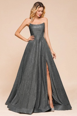 April | Strapless A-line High Slit Gray Shiny Sequined Prom Dress_3