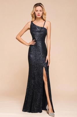 Timeless Black Sequined One shoulder Column High Split Prom Dress_1