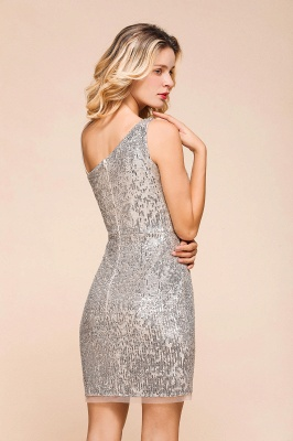 Shining Silver Sequined One shoulder price Short Cocktail Dress in Mini length_9