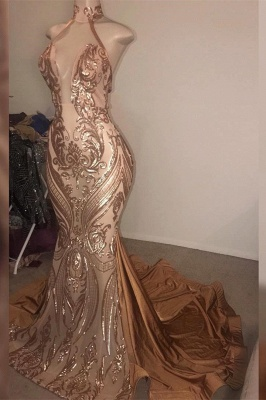 Gorgeous High neck Golden Mermaid Long Prom Dress Real Model Series_1