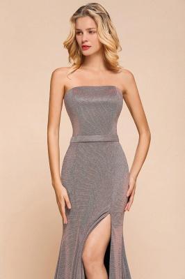 Elegant Strapless Belt Stormy Zipper up High Split Prom Dress_9