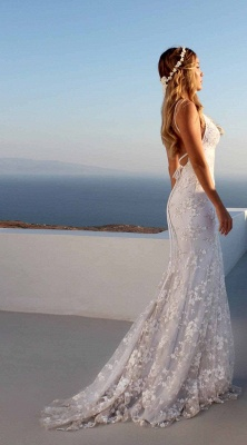 Облегающие платья длиной до пола, кружева V-образным вырезом спагетти с открытой спиной Платья для выпускного   Дешевые платья с кружевом_2