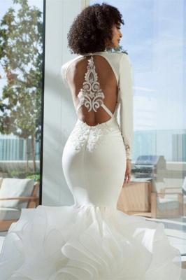 Sexy sereia profundo decote em v estiramento de cetim e organza empilhada furada volta vestidos de noiva com apliques de renda | Vestidos de noiva baratos até o chão_2