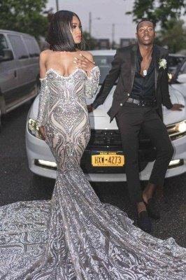 Vestido de fiesta de lujo con lentejuelas plateado de manga larga de novia de moda 2021_2