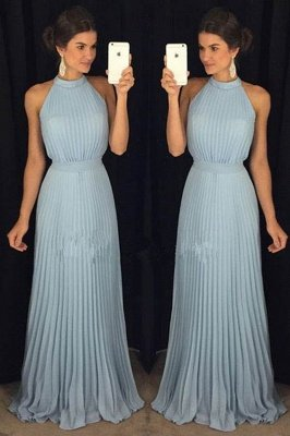 Stunning Halter High Neck Long Pleats Prom Dresses