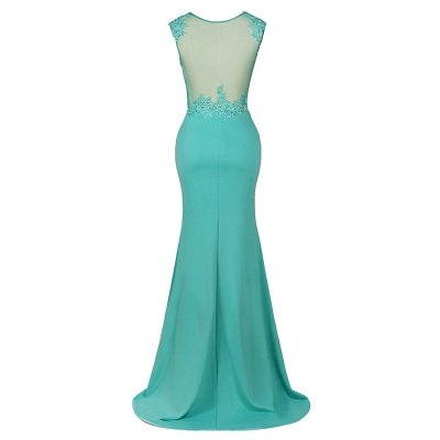 Arrick | Mint Green round neck Cap sleeve Lace appliques Prom Dress_12
