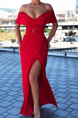 Chic Ruby Off-the-shoulder High Split Affordable Mermaid Evening Gowns