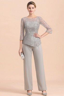 Элегантный серебряный костюм с рукавами 3/4, свадебная одежда для мамы невесты