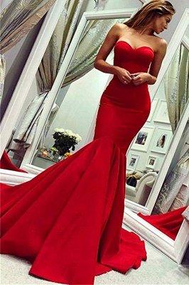 Sey Red Satin Mermaid Sleeveless Sweetheart bodenlangen rückenfreie Ballkleider | Günstige Abendkleider Mit Reißverschluss_1