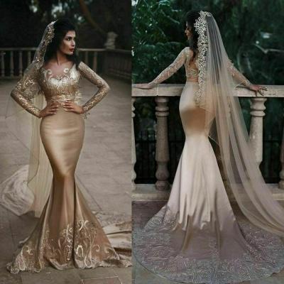 Luxuriöse zweiteilige Meerjungfrau Champagner Brautkleider Mit Spitze Appiques Und Perlen   Günstige Long Sleeves Brautkleider zum Verkauf_3