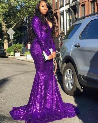 Glittering V-neck Long Sleeves Sequins Mermaid Prom Dresses_2