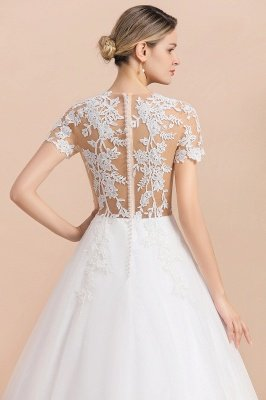 Elegant White Short Sleeves Ball Gown Buttons Lace Applique Wedding Dress_9