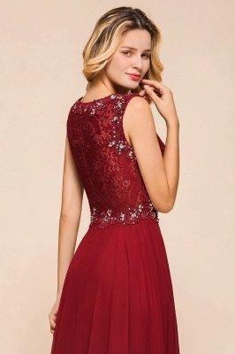Arla | Trendy Round neck Beaded Burgundy Lace Bridesmaid Dress with Belt_8