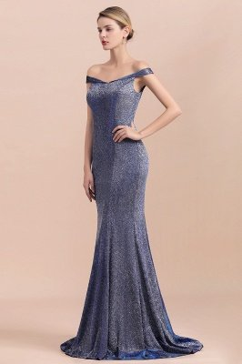 Elegant Off-the-shoulder Sparkly Sequin Long Gray Prom Dress with Floor length Train_5