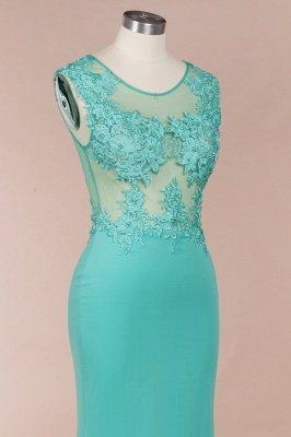 Arrick | Mint Green round neck Cap sleeve Lace appliques Prom Dress_8